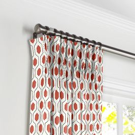 Gray & Red Hexagon Pleated Curtains Close Up