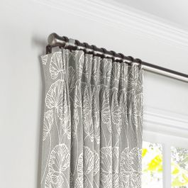 Gray Fan Leaf Pleated Curtains Close Up
