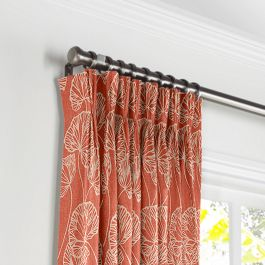 Coral Red Fan Leaf Pleated Curtains Close Up