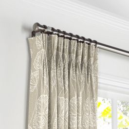 Beige Fan Leaf Pleated Curtains Close Up