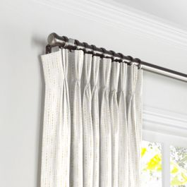 Embroidered Tan Dotted Line Pleated Curtains Close Up
