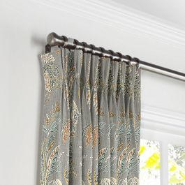 Intricate Gray Floral Pleated Curtains Close Up