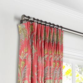 Intricate Pink Floral Pleated Curtains Close Up