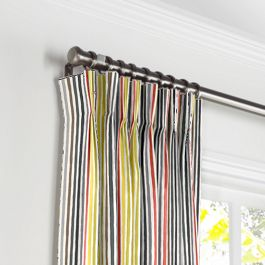 Gray & Red Stripe Pleated Curtains Close Up