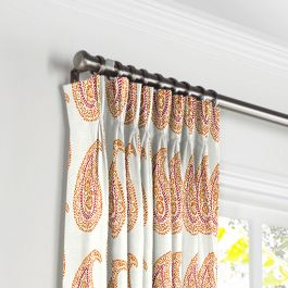 Orange & Pink Paisley Pleated Curtains Close Up
