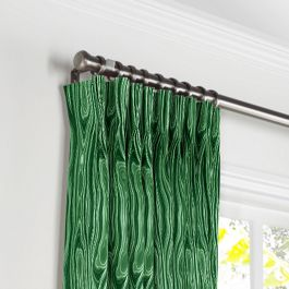 Marbled Green Malachite Pleated Curtains Close Up