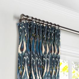 Navy Blue Ikat Pleated Curtains Close Up