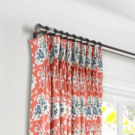 Blue & Pink Coral Leaf Pleated Curtains Close Up