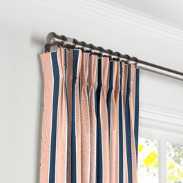 Coral & Blue Stripe Pleated Curtains Close Up