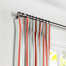 Aqua & Coral Pink Stripe Pleated Curtains Close Up