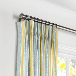 Teal & Yellow Stripe Pleated Curtains Close Up