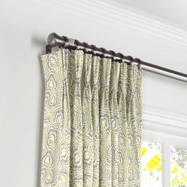 Yellow & Gray Scallop Pleated Curtains Close Up