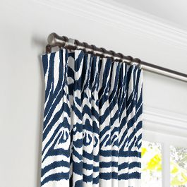 Blue Zebra Print Pleated Curtains Close Up