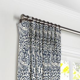 Navy Blue Paisley Pleated Curtains Close Up