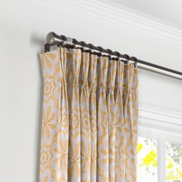 Gold Flower Medallion Pleated Curtains Close Up