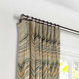 Gold & Black Marble Pleated Curtains Close Up