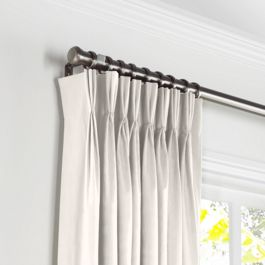 Ivory White Velvet Pleated Curtains Close Up
