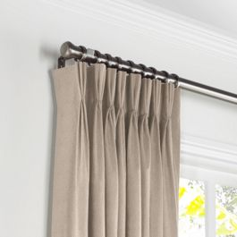Light Beige Velvet Pleated Curtains Close Up