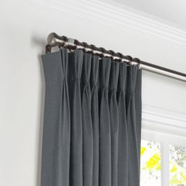 Warm Gray Velvet Pleated Curtains Close Up