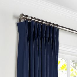 Navy Blue Velvet Pleated Curtains Close Up