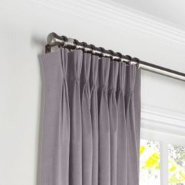 Lavender Gray Velvet Pleated Curtains Close Up