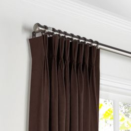 Chocolate Brown Velvet Pleated Curtains Close Up