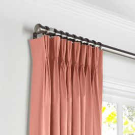 Coral Pink Velvet Pleated Curtains Close Up