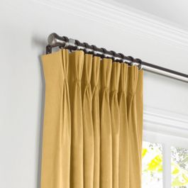 Golden Tan Velvet Pleated Curtains Close Up