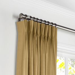 Warm Camel Velvet Pleated Curtains Close Up