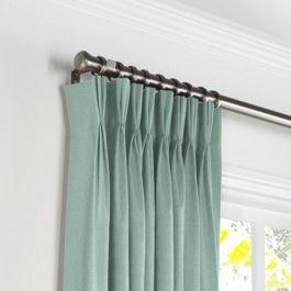 Seafoam Aqua Velvet Pleated Curtains Close Up