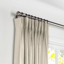 Heathered Beige Woven Blend Pleated Curtains Close Up