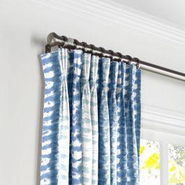 Aqua Blue Shibori Stripe Pleated Curtains Close Up