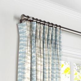 Blue & Tan Shibori Stripe Pleated Curtains Close Up