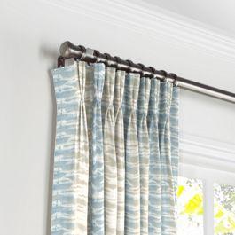 Blue & Tan Shibori Stripe Pleated Curtains Close Up