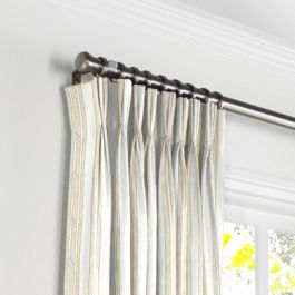 Embroidered Yellow Stripe Pleated Curtains Close Up
