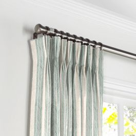 Embroidered Aqua Stripe Pleated Curtains Close Up