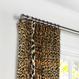 Velvet Leopard Print Pleated Curtains Close Up