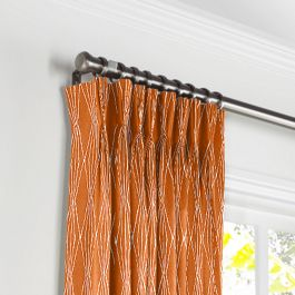 Burnt Orange Diamond Pleated Curtains Close Up