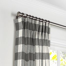 Gray & White Buffalo Check Pleated Curtains Close Up