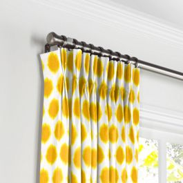 Bright Yellow Dot Pleated Curtains Close Up
