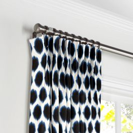 Black & Blue Dot Pleated Curtains Close Up
