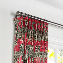 Black, White & Red Zebra Pleated Curtains Close Up