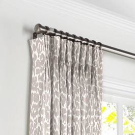 Gray & White Leopard Print Pleated Curtains Close Up