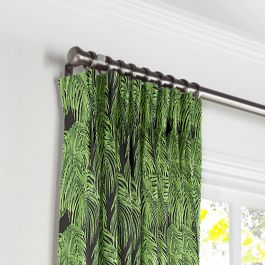 Green & Black Palm Leaf Pleated Curtains Close Up