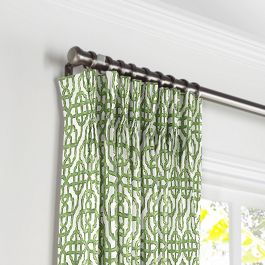 Green Watercolor Trellis Pleated Curtains Close Up