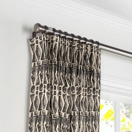 Tan & Black Tribal Print Pleated Curtains Close Up