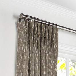 Tan & Black Dashes Pleated Curtains Close Up