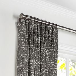 Charcoal Woven Tribal Pleated Curtains Close Up