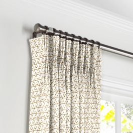 Beige Mudcloth Pleated Curtains Close Up