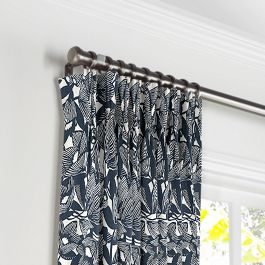 Modern Navy Blue Floral Pleated Curtains Close Up